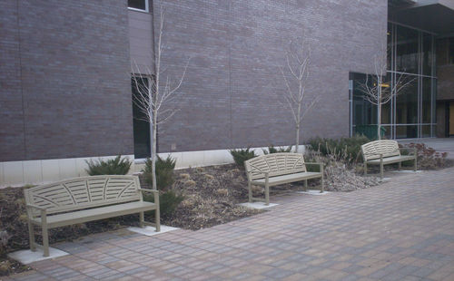 public bench / traditional / ipe / steel