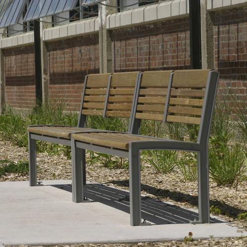 public bench / traditional / ipe / cast aluminum