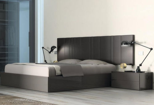 double bed / contemporary / with upholstered headboard / with in-base storage