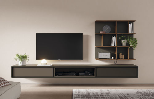 contemporary TV wall unit / lacquered wood / oak / modular