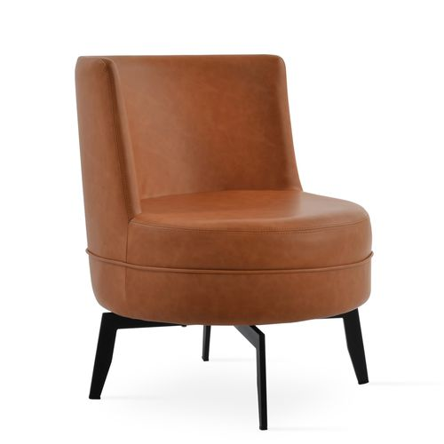 contemporary fireside chair / leather / swivel / central base