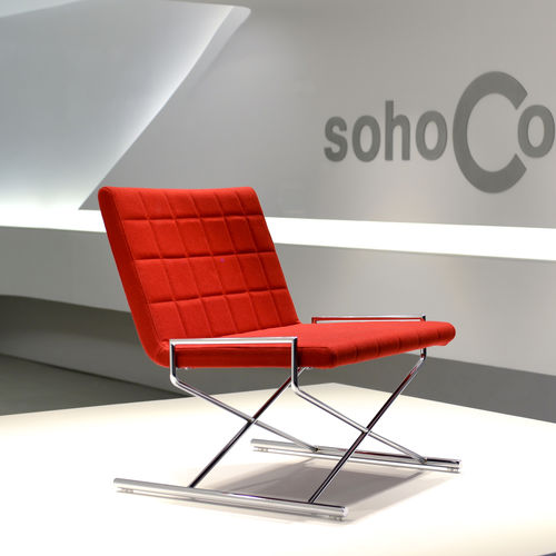 contemporary fireside chair / fabric / leather / chrome steel