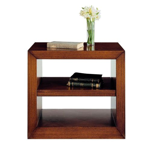 contemporary bedside table / walnut / beech / walnut base