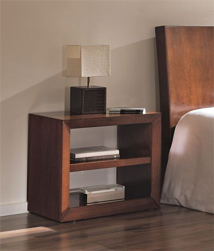 contemporary bedside table / wooden / rectangular / with storage compartment
