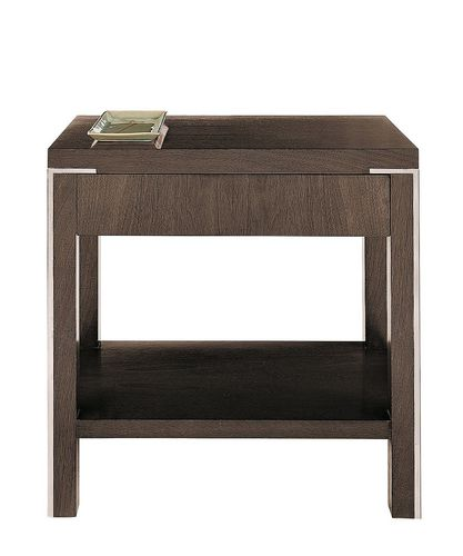 contemporary bedside table / walnut / beech / stainless steel