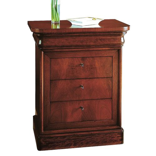traditional bedside table / walnut / beech / rectangular