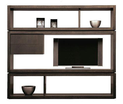 contemporary TV wall unit / walnut / modular