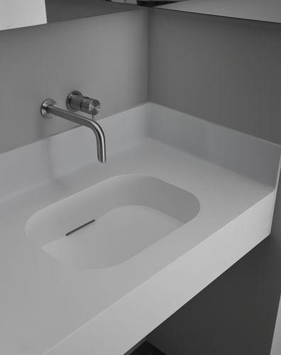 Corian® vanity top / resin / custom / with towel rack