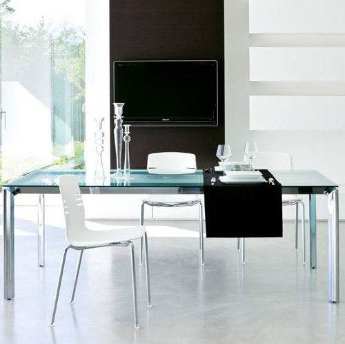 contemporary table / powder-coated steel / laminate / melamine