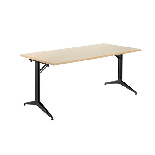 contemporary table / laminate / melamine / steel base