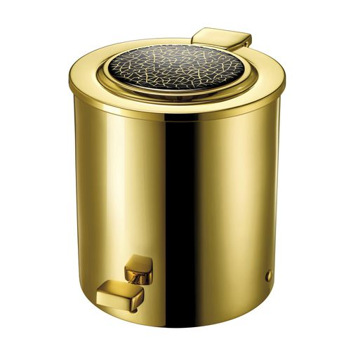 bathroom trash can / brass / Swarovski® crystal / foot-operated