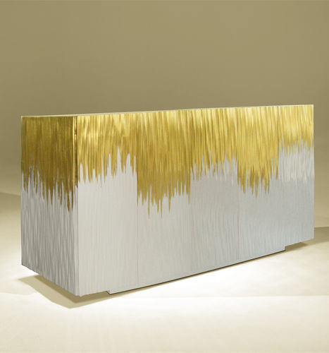 contemporary sideboard / lacquered wood / white / golden