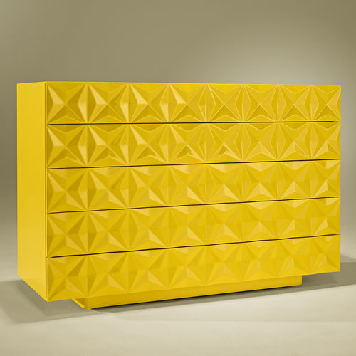 contemporary chest of drawers / lacquered wood / yellow