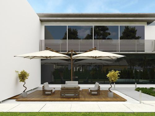offset patio umbrella / acrylic / polyester / aluminum
