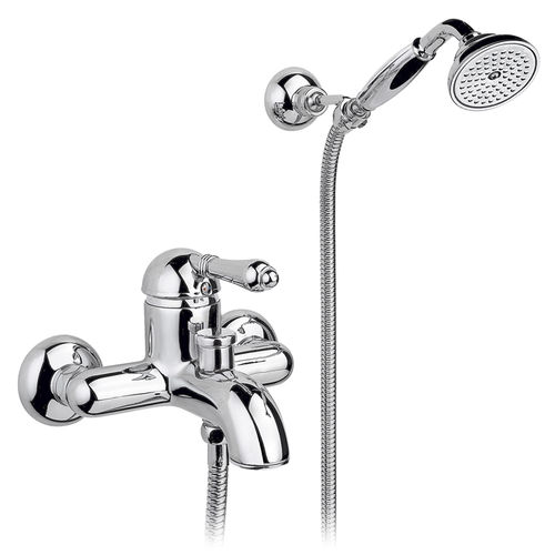 bathtub mixer tap / wall-mounted / brass / bathroom