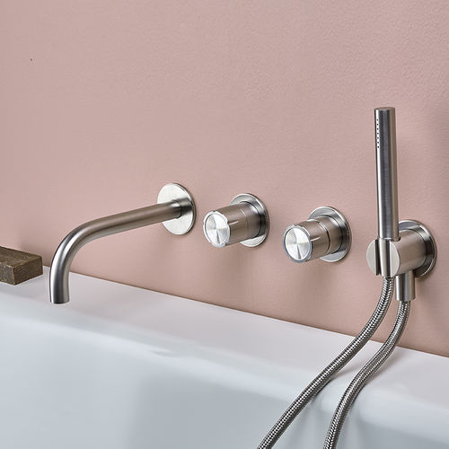 double-handle bathtub mixer tap / wall-mounted / stainless steel / bathroom