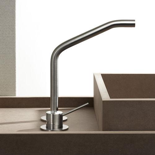 washbasin mixer tap / stainless steel / bathroom / 2-hole