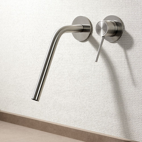 washbasin mixer tap / wall-mounted / stainless steel / bathroom