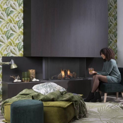 gas fireplace / contemporary / closed hearth / 3-sided