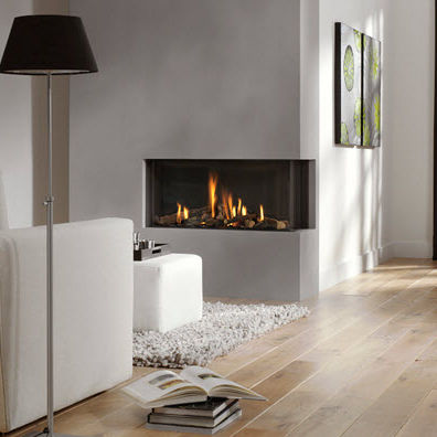 gas fireplace / contemporary / closed hearth / corner