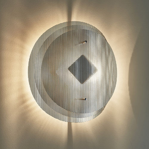 contemporary wall light / polished stainless steel / halogen / round