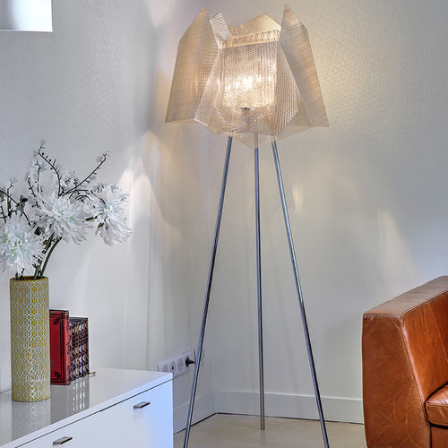 floor-standing lamp / contemporary / polished stainless steel / handmade