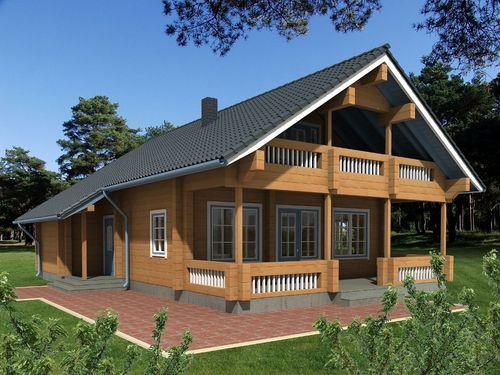 prefab house / log / contemporary / wooden frame