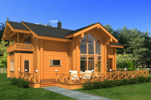 prefab house / traditional / wooden frame / two-story