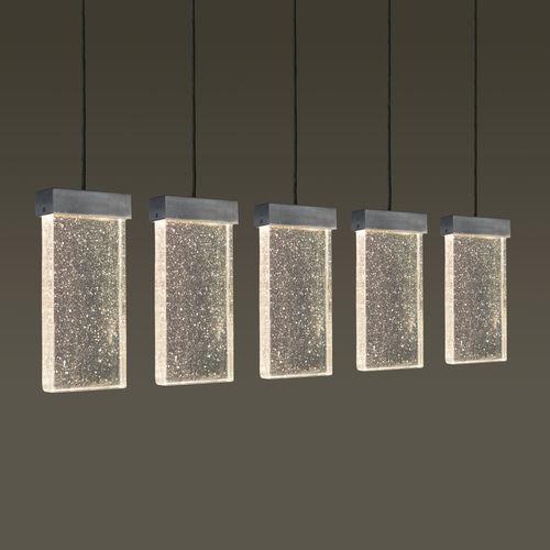 hanging light fixture / LED / rectangular / glass