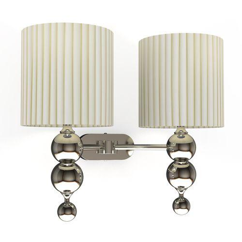 contemporary wall light / nickel / fabric / LED