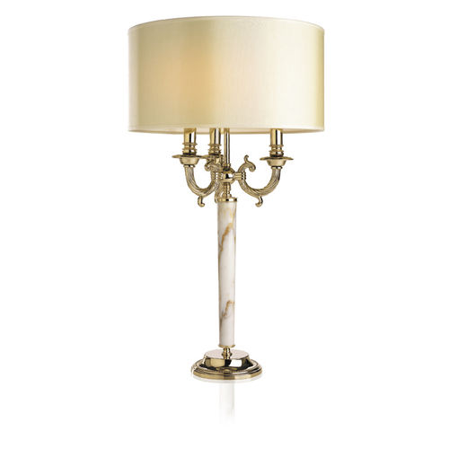 table lamp / contemporary / polished brass / fabric