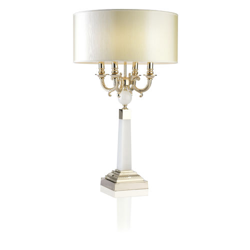 table lamp / traditional / polished brass / fabric
