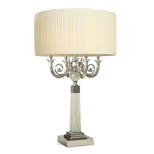 table lamp / traditional / brass / fabric