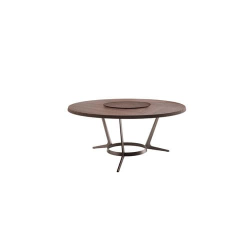 contemporary table / solid wood / wenge / steel