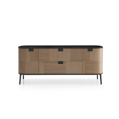 contemporary sideboard / wooden / marble / cast aluminum