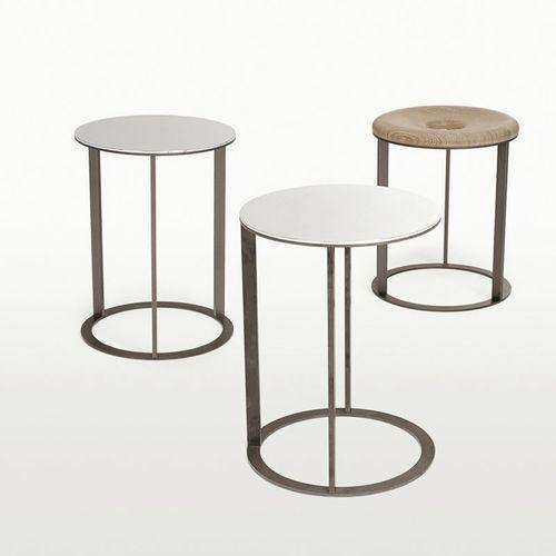 contemporary side table / oak / round / square