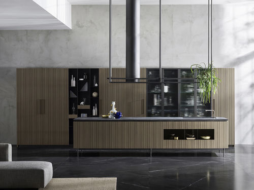 contemporary kitchen / wooden / glass / metal
