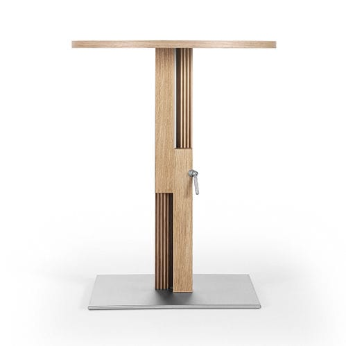 contemporary bistro table / metal / wooden / round