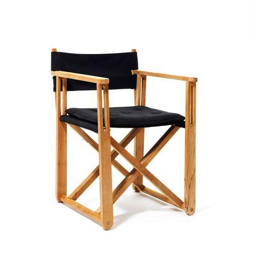 contemporary armchair / Sunbrella® / teak / sled base