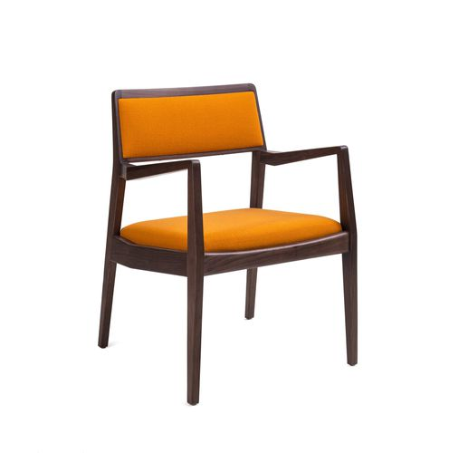 contemporary chair / upholstered / with armrests / solid wood