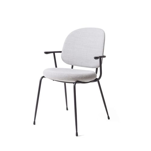 contemporary dining chair / upholstered / with armrests / steel