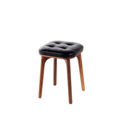 contemporary stool / solid wood / plywood / upholstered