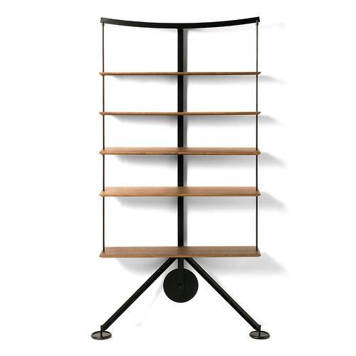wall-mounted shelf / contemporary / powder-coated steel / laminate