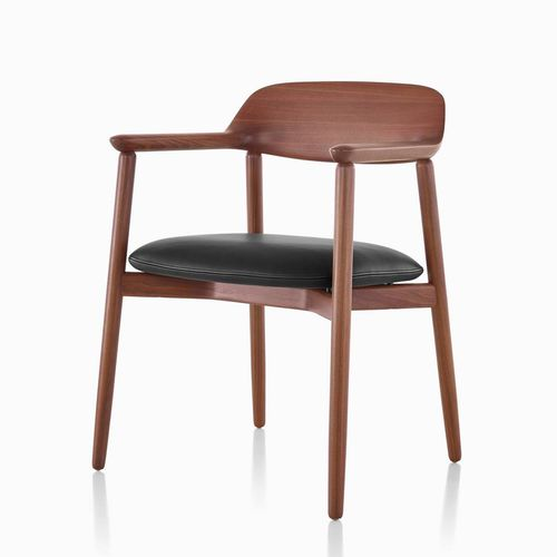 traditional visitor chair / with armrests / upholstered / wooden