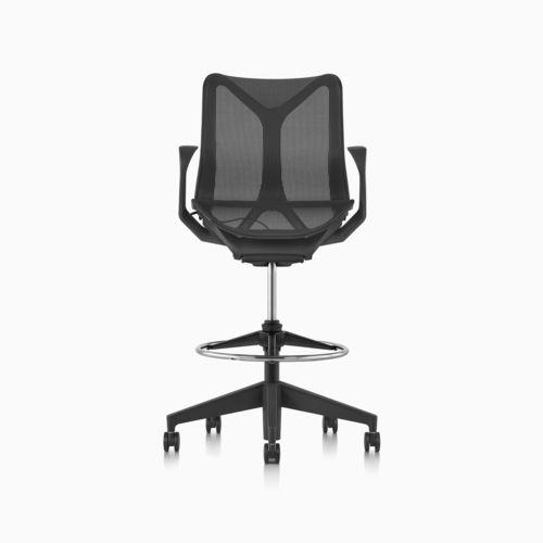 mesh task stool / on casters / swivel / adjustable-height