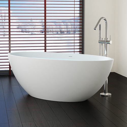 free-standing bathtub / oval / stone resin