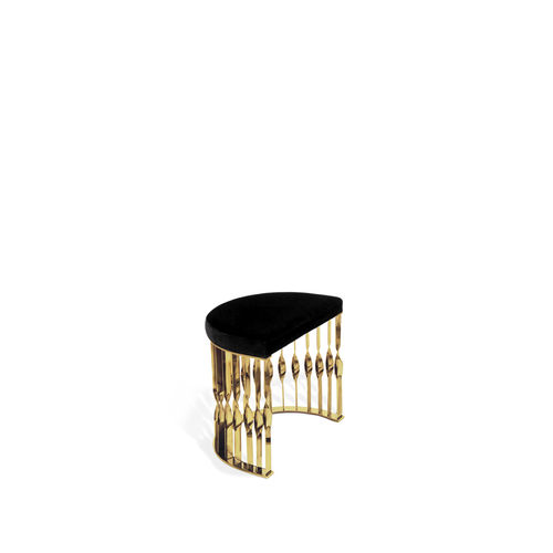 original design stool / velvet / brass / upholstered