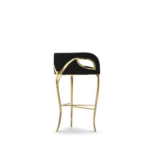 traditional bar stool / velvet / brass / black
