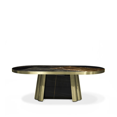 contemporary dining table / marble / oval