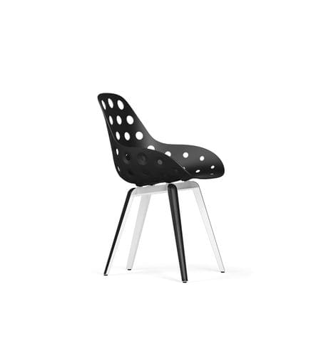 contemporary chair / with armrests / wood / polypropylene